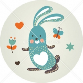 Sluitzegel geboortekaartje konijntje - jongen