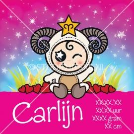 Geboortecanvas sterrenbeeld, Ram meisje: 21 maart - 20 april