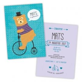 Geboortekaartje met beer op fiets voor een jongen
