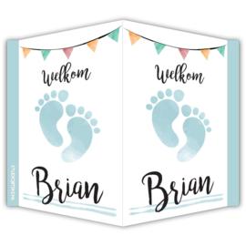 Geboortebord voetjes en slinger - jongen