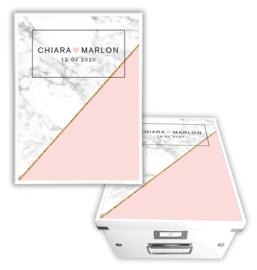 Herinneringsdoos huwelijk Marble Chic pink