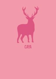Geboortekaart hert strak design - roze