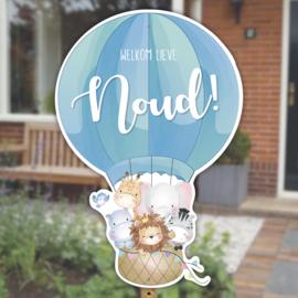 Geboortebord tuin   Luchtballon met dieren