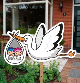 Geboortebord tuin tweeling | Ooievaar