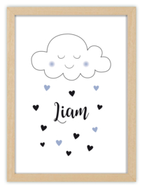 Kinderkamerposter met naam - CUTE CLOUD mono