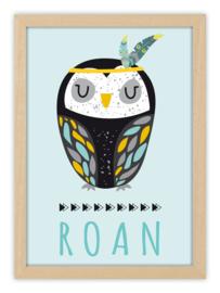 Geboorteposter met naam - INDIAN OWL