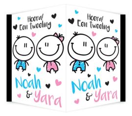 Geboortebord tweeling - jongen/meisje