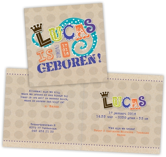 Geboortekaartje met letters en kroontje - jongen