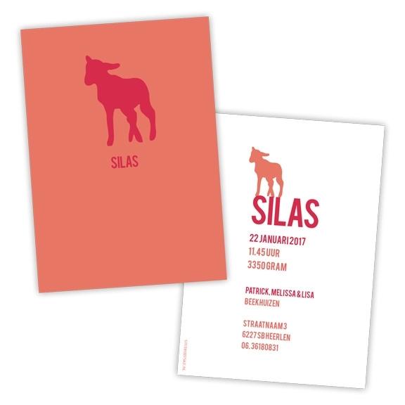 Geboortekaart lammetje strak design - rood/oranje