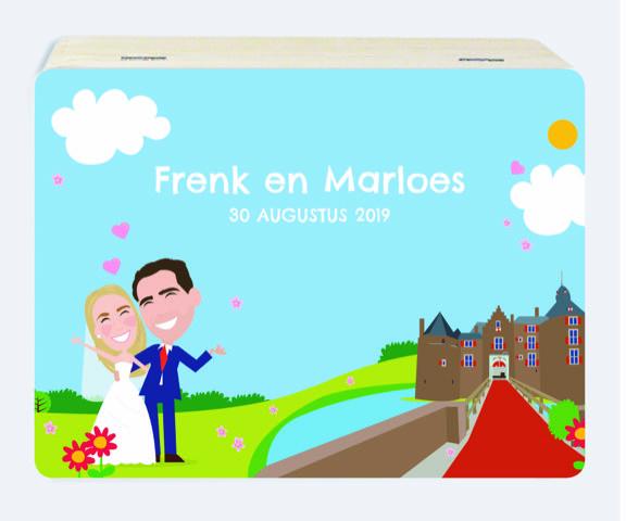 Houten herinneringsdoos huwelijk voor Frenk en Marloes