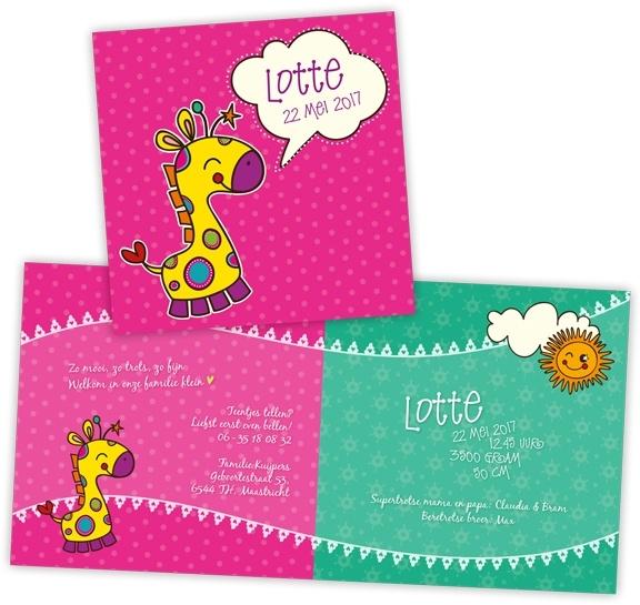 Geboortekaartje met girafje - meisje