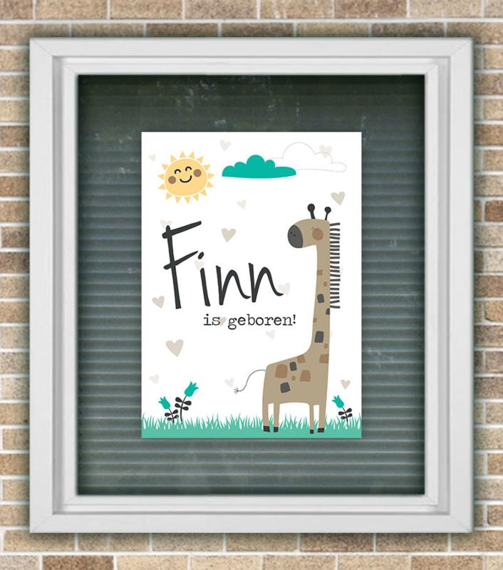 Geboortebord giraffe jongen