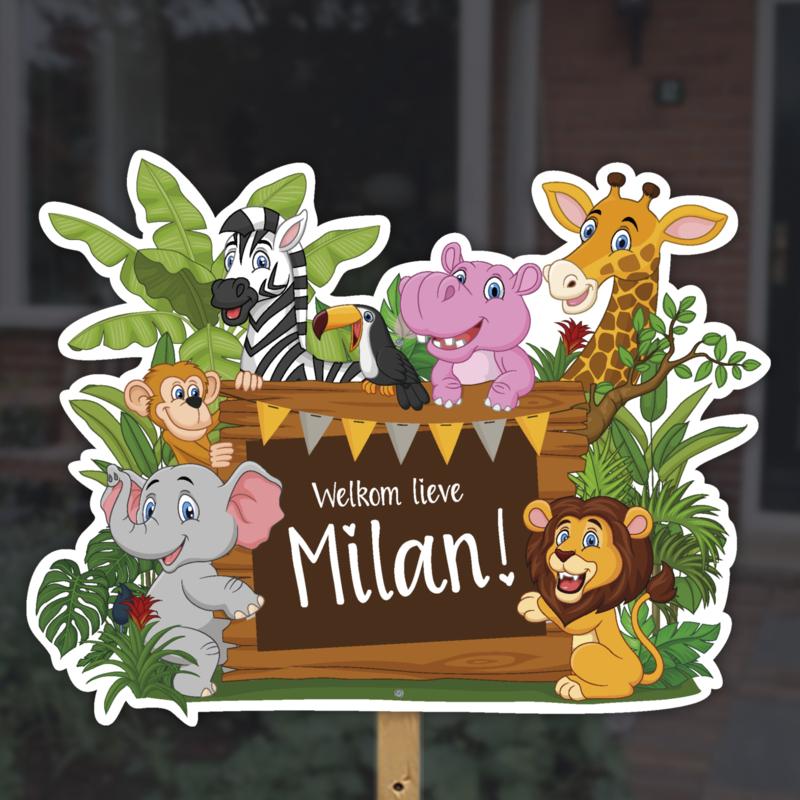 Geboortebord tuin | Jungle dieren