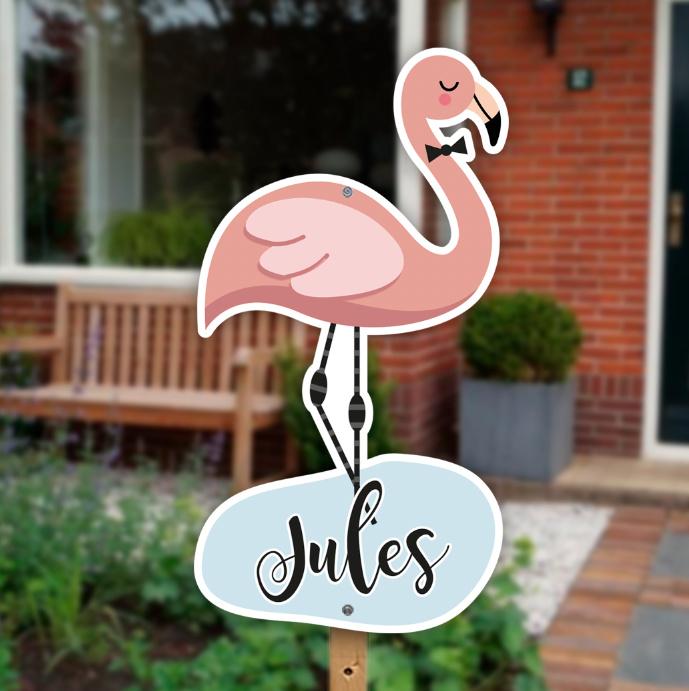 Geboortebord tuin | Flamingo