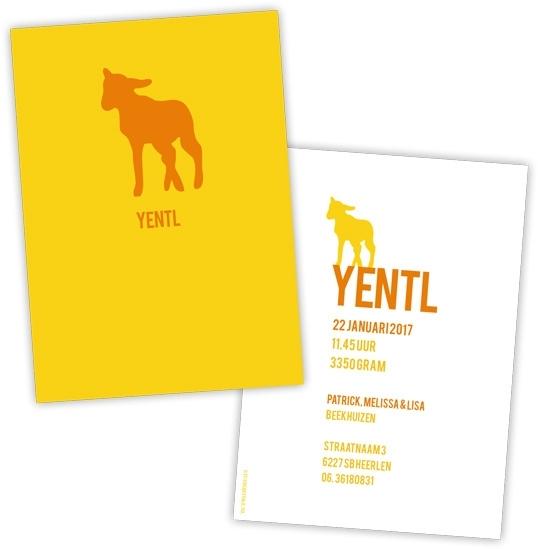 Geboortekaart lammetje strak design - geel/oranje