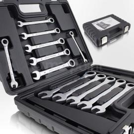 Ring ratelsleutel set 12 DLG in stevig koffer met metalen sluiting