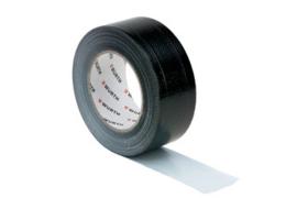 Geweven Duct-tape zwart 50 mtr x 50 mm