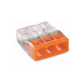 Wago lasklem 3 voudig transparant oranje