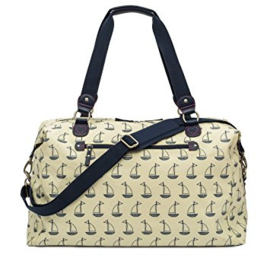 Pink Lining Holdall - Navy and cream-boats