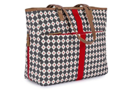 Pink Lining Henrietta Tote - Diamond Heart - Grey & Red