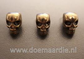 Skull, doodshoofd vertikaal gat, oud bronskleur.