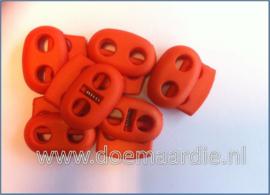 Koordstopper, 2 gaten, ovaal, oranje.