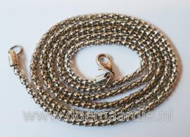 Halsketting, zilverkleur, snake. 76 cm.