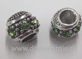 Oud zilveren kraal met strass, groen