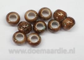 Kraaltjes, bruin beige goud, per 10, gat 5 mm