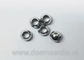 RVS kralen, 6 bij 5 mm, gat 3,1 mm vanaf 11 cent