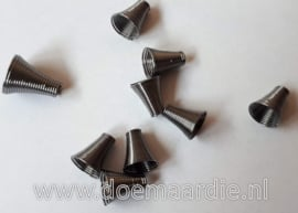 Cord end, black nikkel. per 10