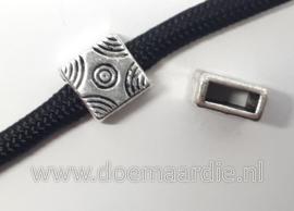 Fantasie schuifkraal, vierkant, oud zilver