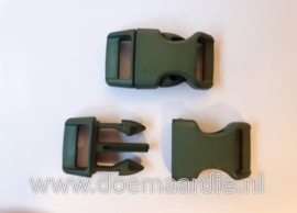 Buckle , klikgesp, Large army green, doorvoer 20 mm.