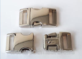Buckle silver metal, klikgesp, middel. (5/8)