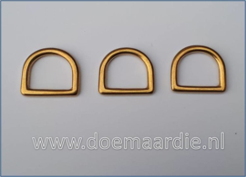 Massief messing D ring, 16 mm x 3,3 mm dik, extra hoog