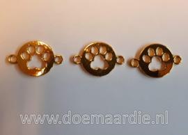 Tussenzetsel hondenpoot, goud kleur.
