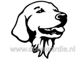 Golden retriever / labrador sticker, zwart of zilver.