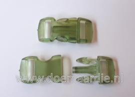 Buckle transparant, mini, klikgesp, groen, doorvoer 11 mm