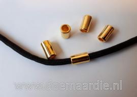 Staafje, buisje, goud. 11 bij 6. gat 4 mm.