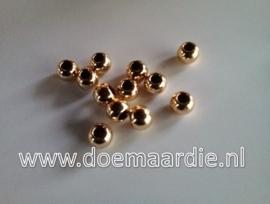 Rondel DQ, licht rose, goudkleur, metaal