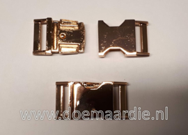 Buckle rose gold metal, klikgesp, 25 mm doorvoer.  200 kilo breekkracht.