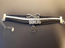 Love boxers armband, zwart.