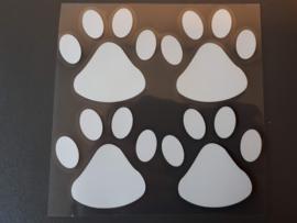 Sticker met 4 pootjes, verschillende kleuren.