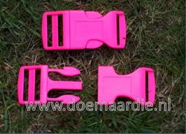 Buckle , klikgesp, X Large, roze, doorvoer 25 mm.