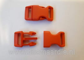 Buckle , klikgesp, Large oranje/rood, doorvoer 20 mm.