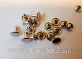 Holniet, silver, 10 mm bij 10. Per 10 of 100 paar.