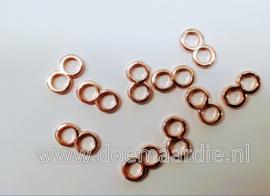 Metalen verdeler,  rose goudkleur. per 10