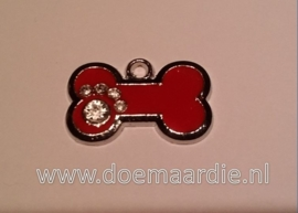 Bot, rood met strass pootje.