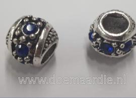 Oud zilveren kraal met strass, blauw
