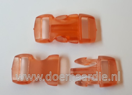 Buckle transparant,mini, klikgesp, oranje, doorvoer 11 mm.